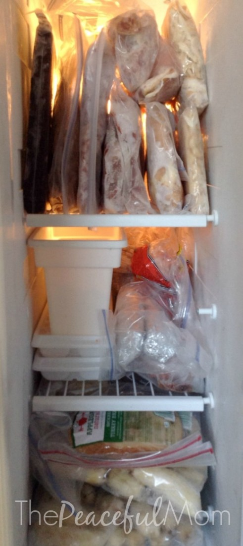 1 Hour plus 29 Pounds of Meat Equals 2 Weeks of Meals - freezer view - The Peaceful Mom
