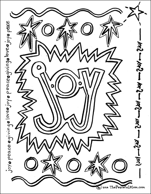Coloring page joy the peaceful mom for Joy coloring pages