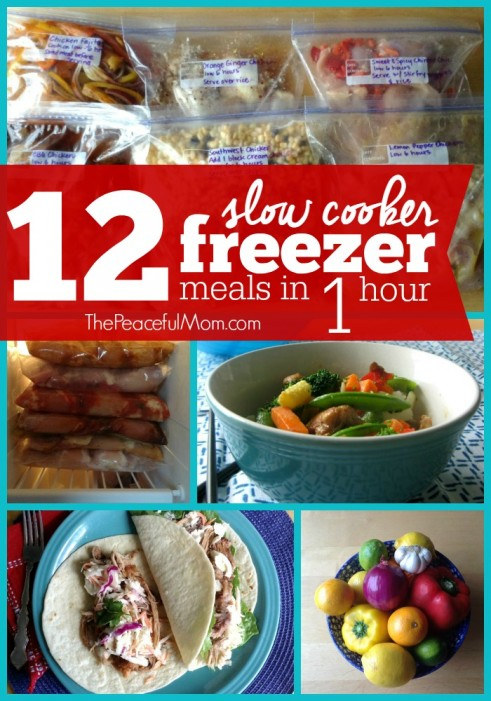 12 Slow Cooker Freezer Meals in 1 Hour -- The Peaceful Mom