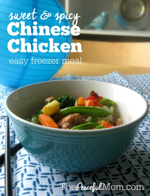Sweet & Spicy Chinese Chicken Freezer Meal Recipe -- The Peaceful Mom