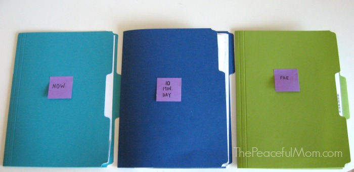 Organize Your Paperwork Fast - Sort Into 3 Folders -- The Peaceful Mom