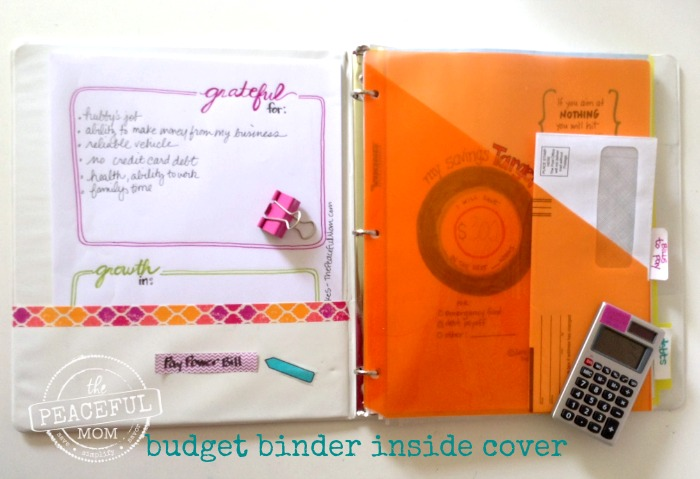 1 Month Money Makeover - Budget Binder Inside Cover -- The Peaceful Mom