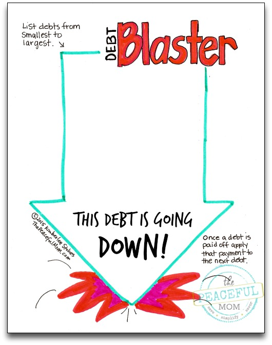 1 Month Money Makeover - Debt Blaster Page Blank Photo -- The Peaceful Mom