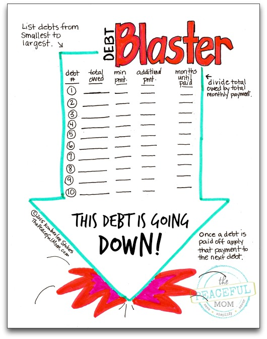 1 Month Money Makeover - Debt Blaster Page Photo -- The Peaceful Mom