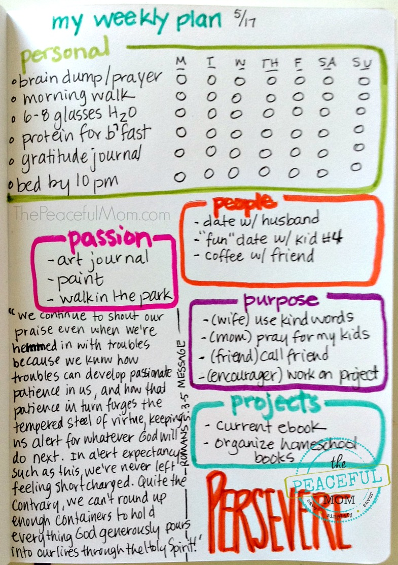 Organize - My Weekly Plan 2015-05-17 -- The Peaceful Mom
