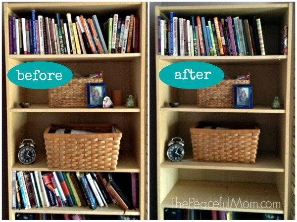 Konmari Declutter Books Before and After -- The Peaceful Mom