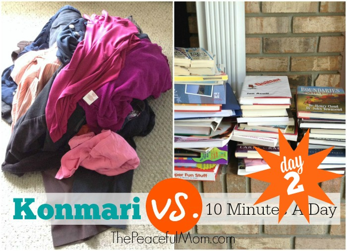 Konmari Decluttering vs 10 Minutes a Day -- Day 2 results -- from The Peaceful Mom