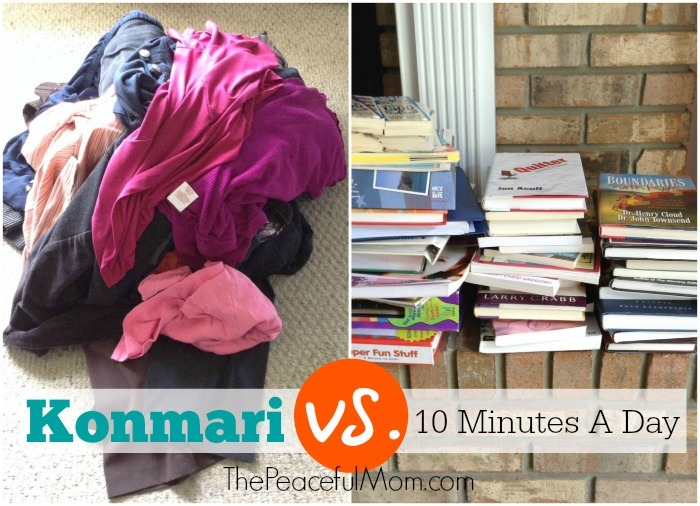 Konmari Decluttering vs 10 Minutes a Day -- the results -- from The Peaceful Mom
