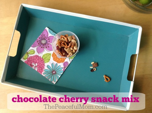 Simple Summer Snacks - chocolate cherry snack mix -- from The Peaceful Mom
