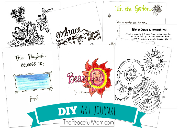 DIY Art Journal Pages -- from The Peaceful Mom -