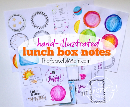 Hand Illustrated Printable Lunch Box Notes -- The Peaceful Mom