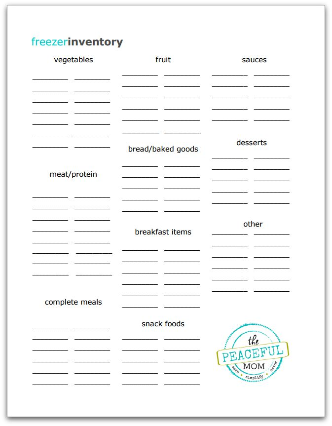 photograph about Freezer Inventory Printable called Totally free Freezer Stock Printable - The Relaxed Mother