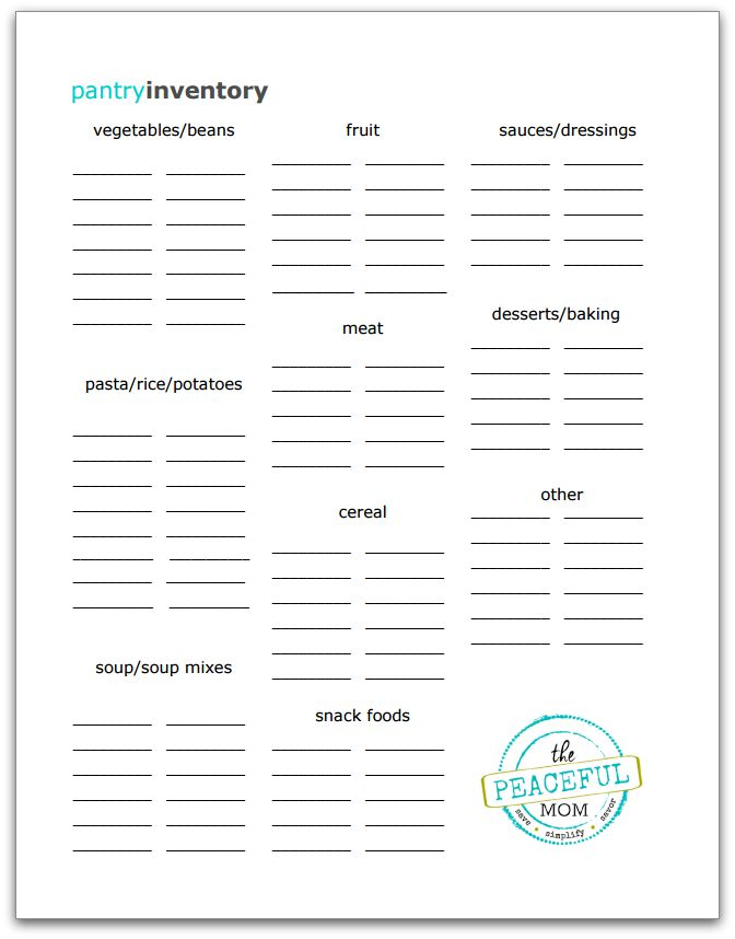 Pantry Inventory Printable Photo -- The Peaceful Mom