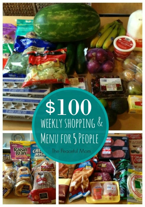 100 Budget Weekly Shopping and Menu for 5 People -- The Peaceful Mom