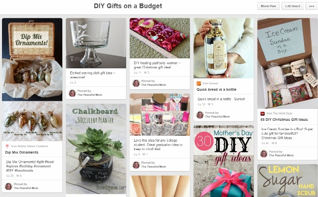 DIY GIfts on a Budget Pin Board 2015