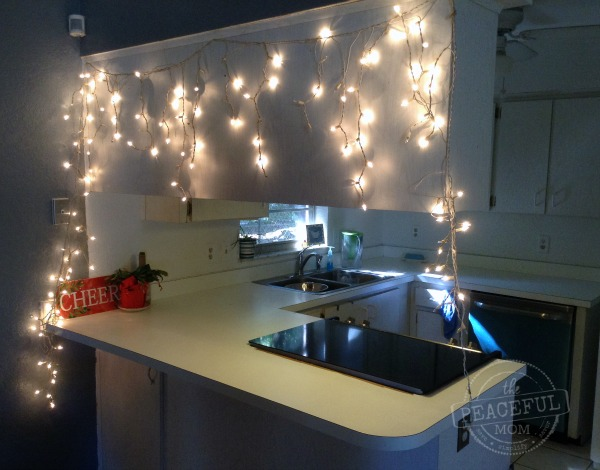 Budget Christmas Decor -- Add lights in the kitchen -- The Peaceful Mom