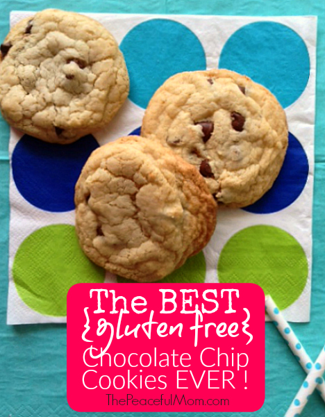 Best Gluten Free Chocolate Chip Cookie Recipe -- from The Peaceful Mom Gluten Free (pink)