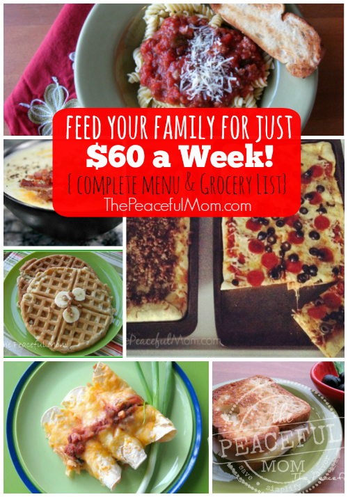 Feed Your Family for Just $60 a week -- printable menu - grocery list and recipes -- The Peaceful Mom