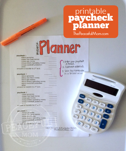 5 Day Money Makeover Printable Paycheck Planner Photo -- The Peaceful Mom