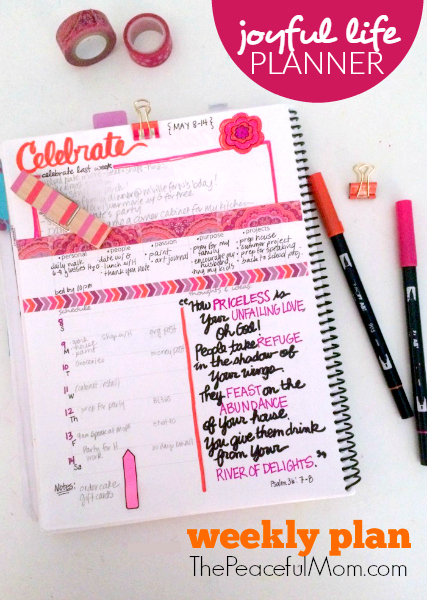 Joyful Life Planner Weekly Plan May Week 1 -- The Peaceful Mom