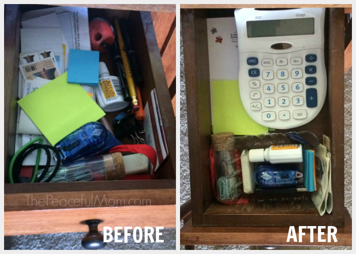 31 Day Declutter -- Desk Drawer Before and After -- The Peaceful Mom