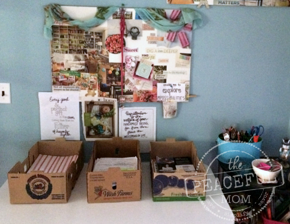 31 Day Declutter - Organize Projects in Produce Boxes to Save Money -- The Peaceful Mom