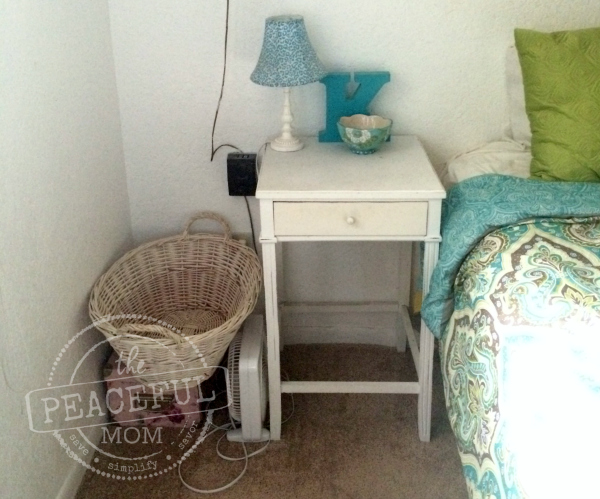 31 Day Decluttering Challenge -- Night Stand After 2 -- The Peaceful Mom