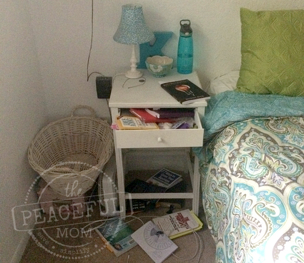 31 Day Decluttering Challenge -- Night Stand Before -- The Peaceful Mom