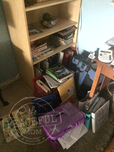 31 Day Decluttering Challenge -- Office Before-- The Peaceful Mom