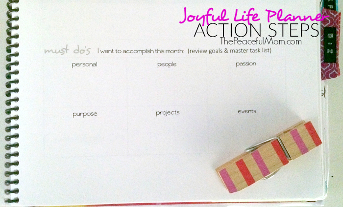 Joyful Life Planner -- Monthly Action Section -- The Peaceful Mom