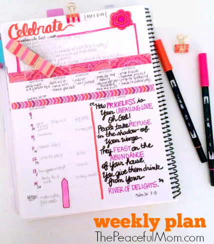 Joyful Life Planner Weekly Plan Photo -- The Peaceful Mom