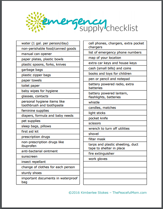 free printable emergency supply list