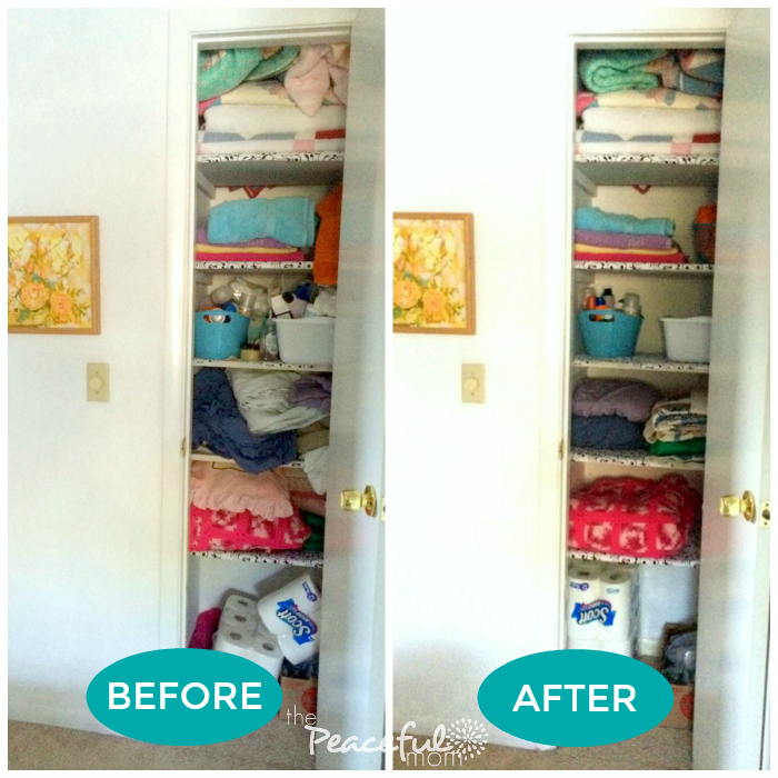 31 day decluttering challenge linen closet before and - Declutter before and after ...