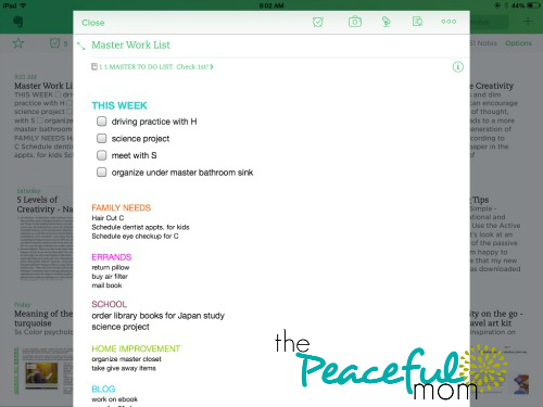 How to Organize with Evernote -- my Evernote Master Task List -- ThePeacefulMom.com