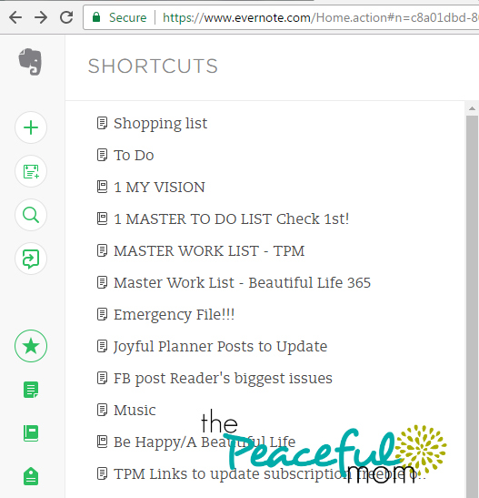 How to Organize with Evernote -- my Evernote shortcut list -- ThePeacefulMom.com