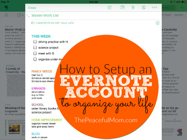 How to setup an Evernote account to organize your entire life