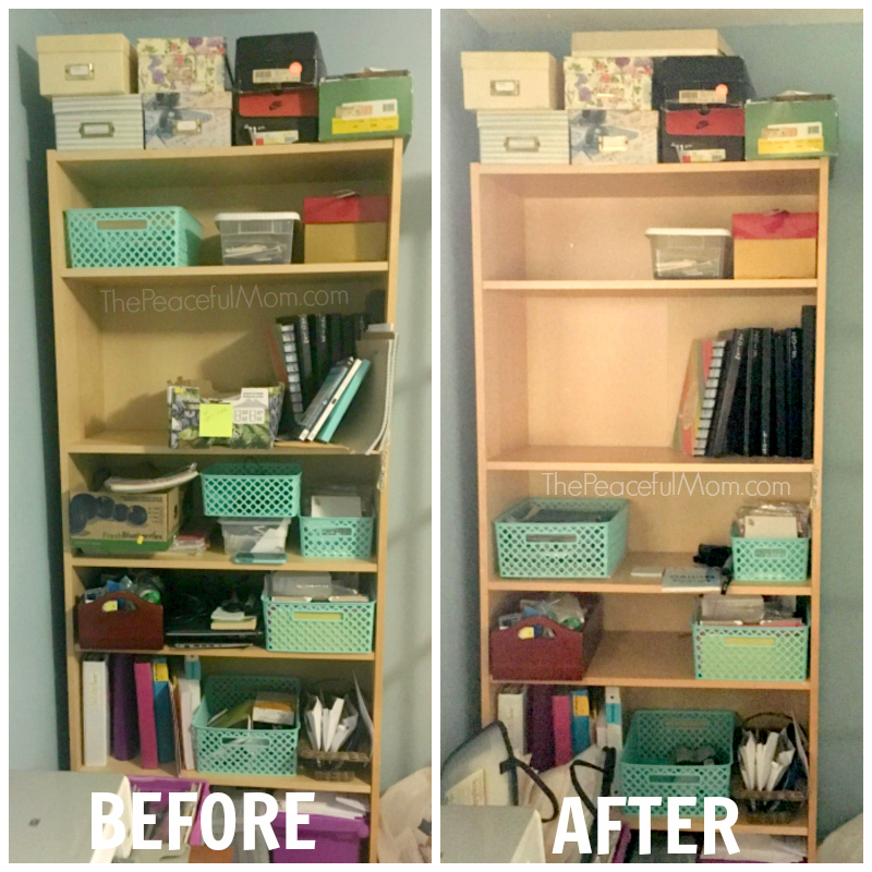 Declutter Before And After Office Bookshelf 1 The Peaceful Mom