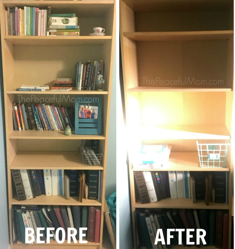 Declutter Before And After Office Bookshelf 3 The Peaceful Mom