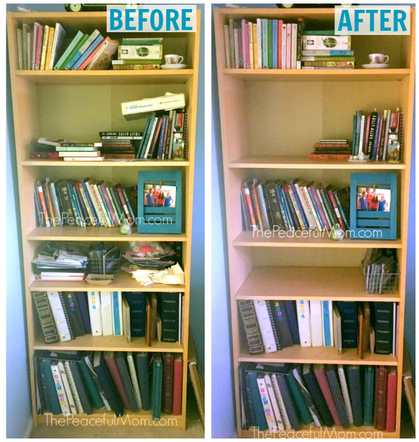 Bookshelf Declutter Before and After -- The Peaceful Mom