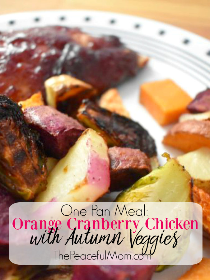 Orange and Cranberry Roasted Chicken with Vegetables One Pan Meal -- The Peaceful Mom
