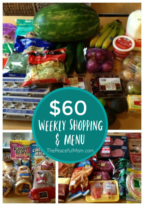 $60 Grocery Budget Meal Plan -- The Peaceful Mom